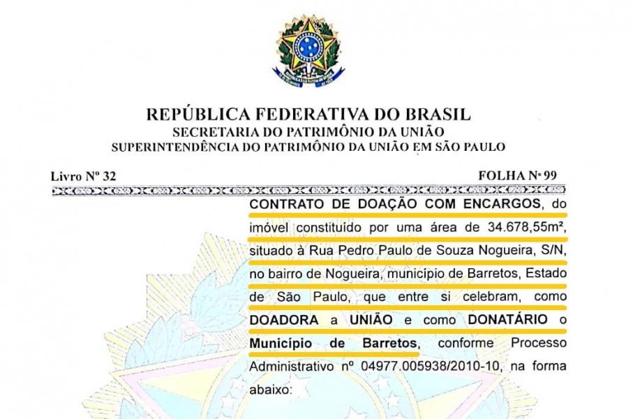 União doa área de 35 mil m² para Barretos, avaliada em 4,5 milhões